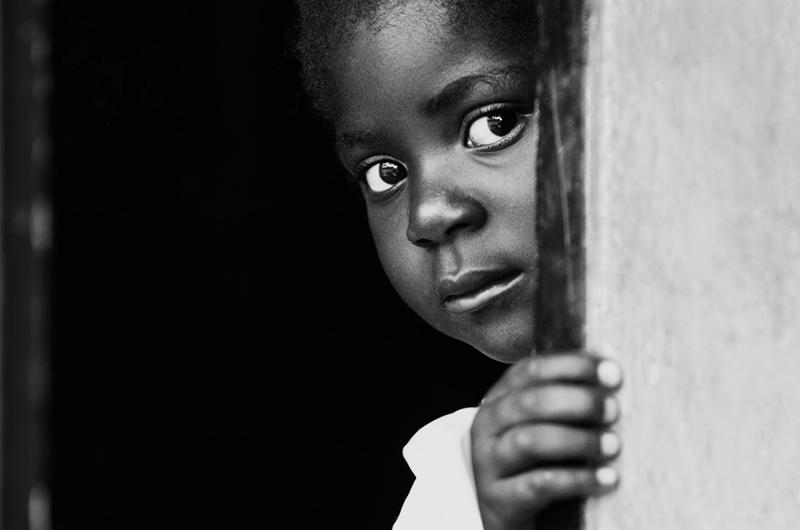 Portrait of poor African child, location Mmankodi village, Botswana