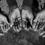 African Children Holding Hands Cupped To Beg Help. Poor African